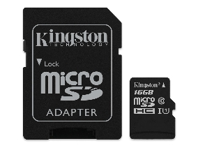 Kingston Micro Secure Digital 16GB microSDXC Canvas Select 80R CL10 UHS-I Card + SD Adapter