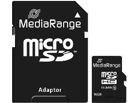 MediaRange Micro SDHC Class 10 With SD Adaptor 16 GB (High Capacity)