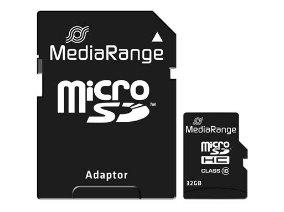 MediaRange Micro SDHC Class 10 With SD Adaptor 32 GB (High Capacity)