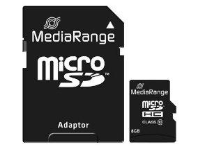 MediaRange Micro SDHC Class 10 With SD Adaptor 8 GB (High Capacity)